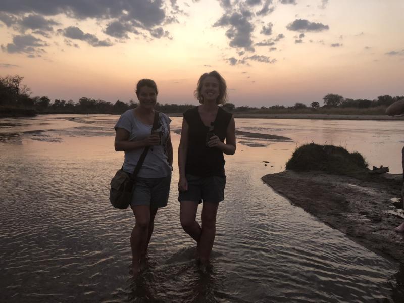 Helen-Sally-press-pause-to-watch-the-sun-go-down-Mwaleshi-River-North-Luangwa-Zambia-